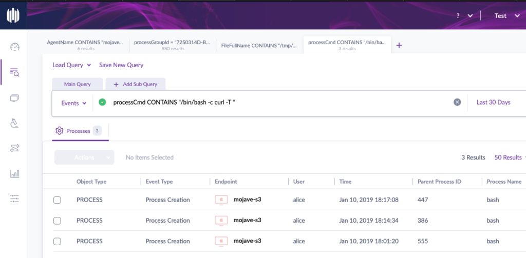 Screenshot of SentinelOne threat hunting
