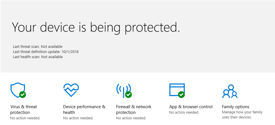 image of windows defender on