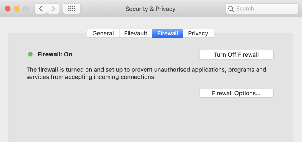 Image of Firewall in macOS security preferences