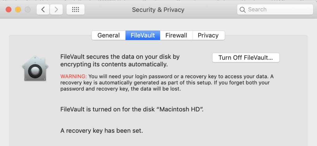 Image of Filevault on macOS