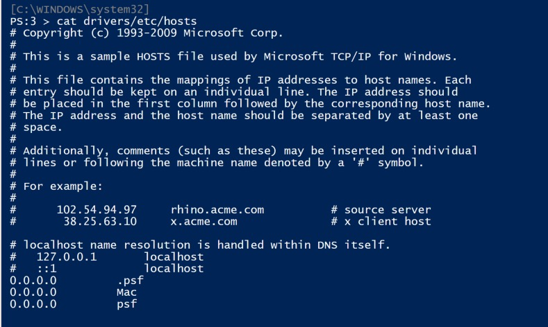 image of Windows hosts file in PowerShell