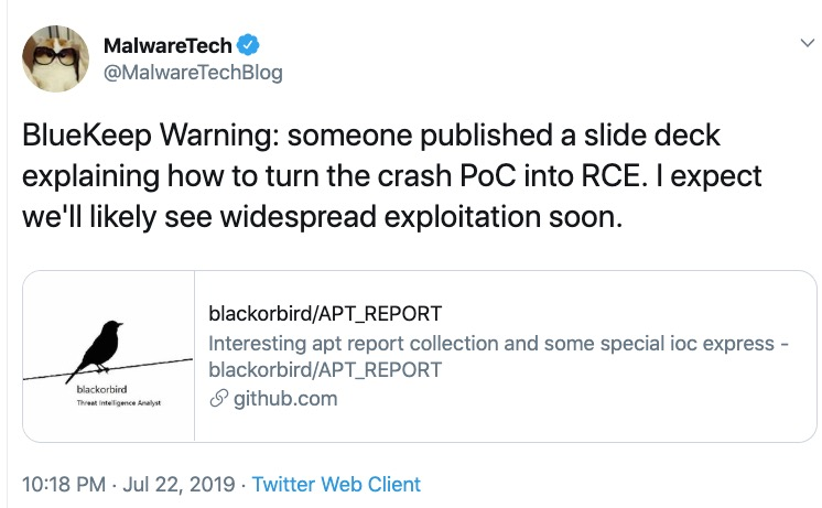 image of malwaretech tweet