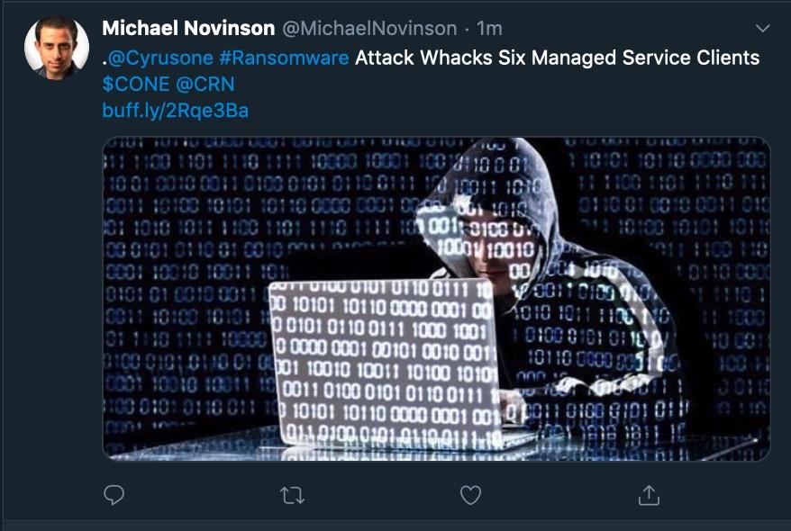 image of cyrusone ransomware attack