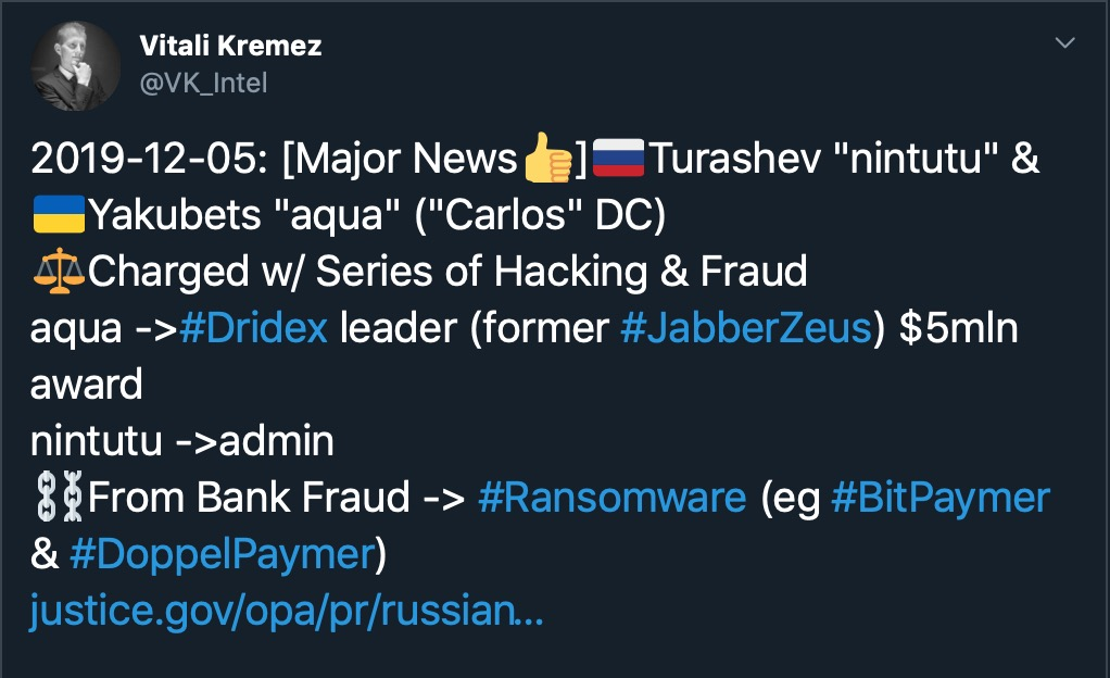 image of tweet Dridex hacker reward