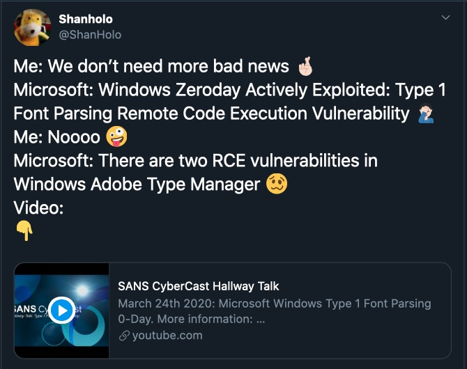 image of tweet about Windows RCE vulnerability